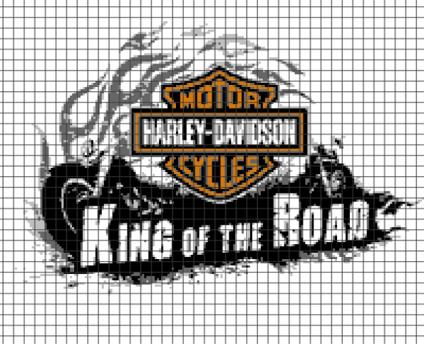 Harley Davidson – King of the Road (Chart/Graph AND Row-by-Row Written Instructions) – 02 (200×162)