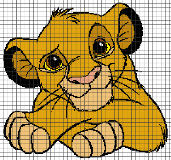 The Lion King, Little Simba – (Chart/Graph AND Row-by-Row Written Instructions)