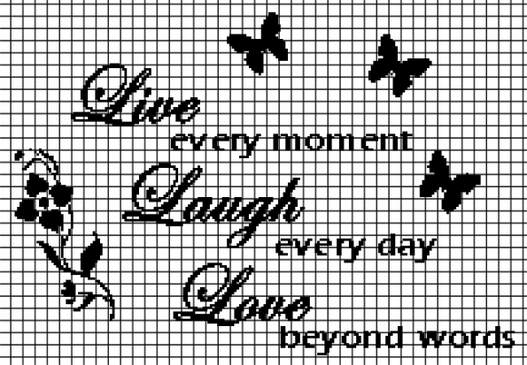 Live, Laugh, Love (Chart/Graph AND Row-by-Row Written Instructions) – 01