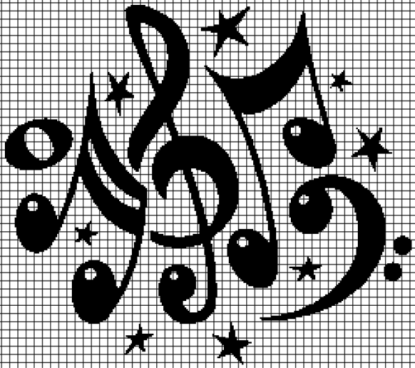 Music Notes (Chart/Graph AND Row-by-Row Written Crochet Instructions) – 02