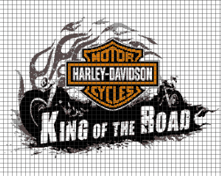 Harley Davidson - King of the Road (Chart/Graph AND Row-by-Row Written  Instructions) - 02 (250x200)