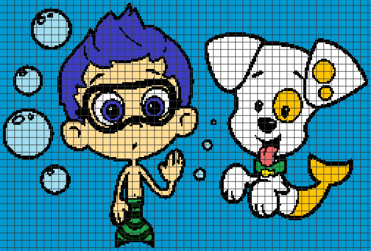 Gil & Bubble Puppy - Bubble Guppies (Chart/Graph AND Row-by-Row Written  Crochet Instructions) - 01