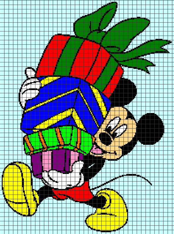 Mickey Mouse Bringing Gifts (Chart/Graph AND Row-by-Row Written Crochet Instructions) – 06