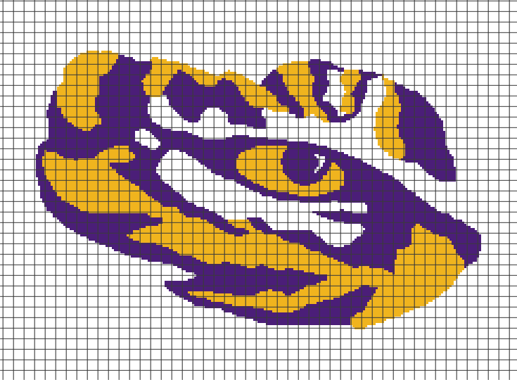 Lsu Logo Clip Art: LSU Tigers (Chart/Graph AND Row-by-Row Written Crochet