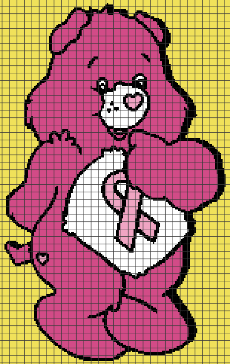 Breast Cancer Care Bear (Chart/Graph AND Row-by-Row Written Crochet Instructions) – 03