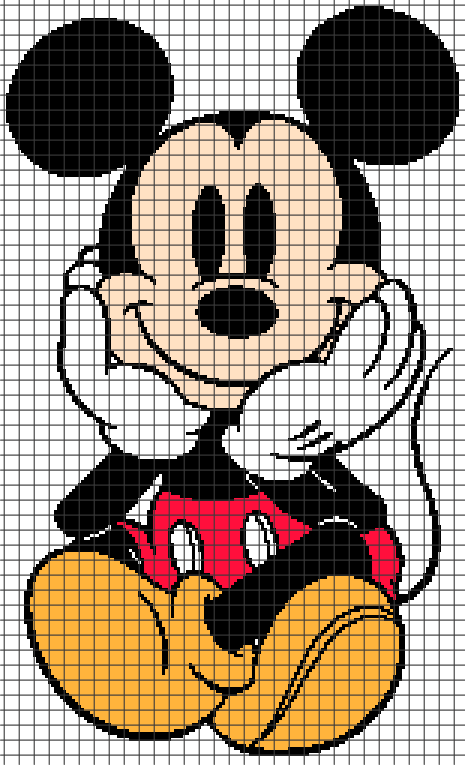 Mickey Mouse Sitting (Graph AND Row-by-Row Written Crochet ...