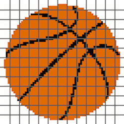 Basketball PILLOW (Graph AND Row-by-Row Written Crochet Instructions) – 01