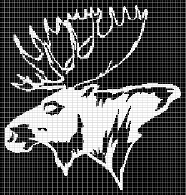 Moose Head (247×260) (Graph AND Row-by-Row Written Crochet Instructions) – 17