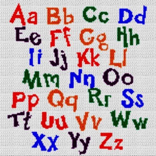 Alphabet Graph alphabet blanket (graph and row-by-row written crochet instructions