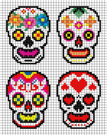 Day of the Dead Skulls (Graph AND Row-by-Row Written Crochet Instructions) - 02