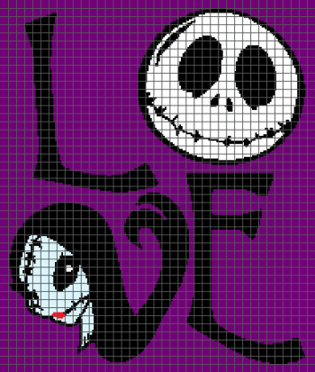 LOVE - The Nightmare Before Christmas (Graph AND Row-by-Row Written Crochet Instructions) - 08