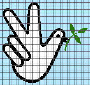 Peace - Dove and Peace Sign (Graph AND Row-by-Row Written Crochet Instructions) - 02