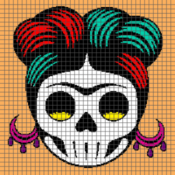 Rockabilly Day of the Dead Sugar Skull - (Graph AND Row-by-Row Written Crochet Instructions) - 04