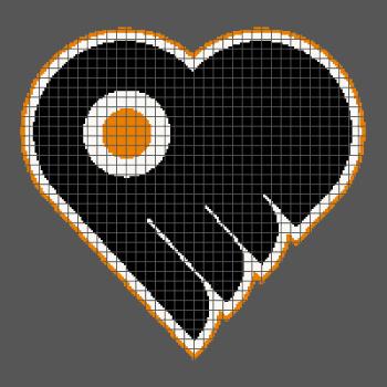 Philadelphia Flyers Heart/Love - (Graph AND Row-by-Row Written Crochet Instructions) - 07