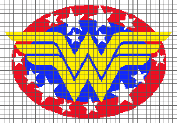 Wonder Woman Logo - (Graph AND Row-by-Row Written Crochet Instructions) - 02