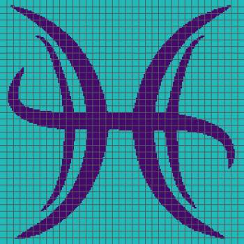 Pisces Zodiac Symbol - (Graph AND Row-by-Row Written Crochet Instructions) - 01
