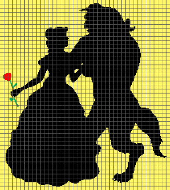 Beauty and the Beast Silhouettes - (Graph AND Row-by-Row Written Crochet Instructions) - 08