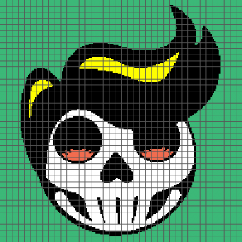 Rockabilly Day of the Dead Sugar Skull - (Graph AND Row-by-Row Written Crochet Instructions) - 06