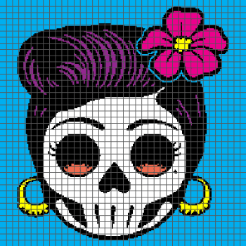 Rockabilly Day of the Dead Sugar Skull - (Graph AND Row-by-Row Written Crochet Instructions) - 08
