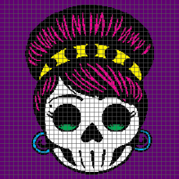 Rockabilly Day of the Dead Sugar Skull - (Graph AND Row-by-Row Written Crochet Instructions) - 09