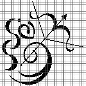 Sagittarius Zodiac Sign/Symbol - (Graph AND Row-by-Row Written Crochet Instructions) - 01