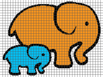 Big and Little Elephants - (Graph AND Row-by-Row Written Crochet Instructions) - 01