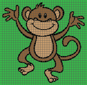 Happy Monkey- (Graph AND Row-by-Row Written Crochet Instructions) - 07