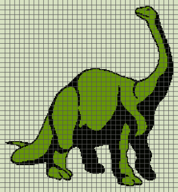 Dinosaur (Brontosaurus) - (Graph AND Row-by-Row Written Crochet Instructions) - 06