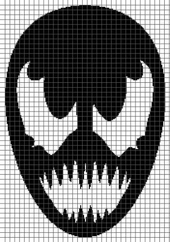 Venom Face - (Graph AND Row-by-Row Written Crochet Instructions) - 02