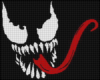 Venom With Tongue Out - (Graph AND Row-by-Row Written Crochet Instructions) - 03