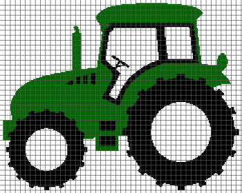 Tractor - (Graph AND Row-by-Row Written Single Crochet Instructions) - 03
