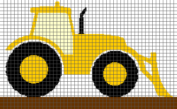Tractor - (Graph AND Row-by-Row Written Single Crochet Instructions) - 05