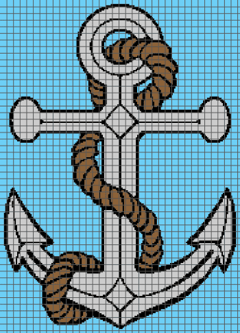 Anchor - (Graph AND Row-by-Row Written Single Crochet Instructions) - 07