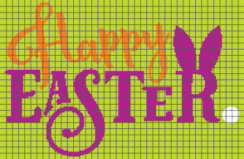 Happy Easter - (Graph AND Row-by-Row Written Single Crochet Instructions) - 01