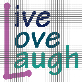 Live Love Laugh - (Graph AND Row-by-Row Written Single Crochet Instructions) - 06