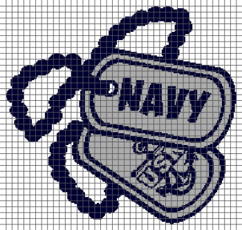 US Navy Dog Tags - (Graph AND Row-by-Row Written Single Crochet Instructions) - 05
