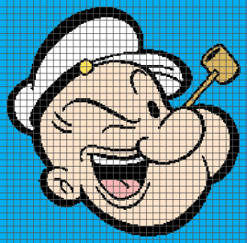 Popeye the Sailor Man - (Graph AND Row-by-Row Written Single Crochet Instructions) - 02