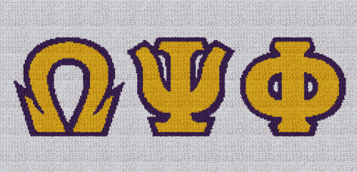Omega Psi Phi - SC (Single Crochet) Written Graphghan Pattern - 02 (249x125)