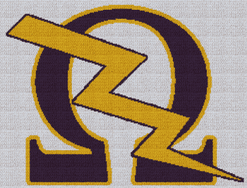 Omega Psi Phi - Lightning Bolt - SC (Single Crochet) Written Graphghan Pattern - 06 (250x191)