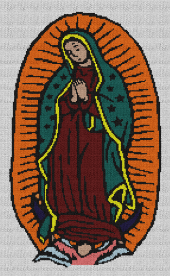 Virgin Mary Written SC Graphghan Pattern