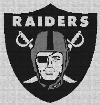 Oakland Raiders - Single Crochet Written Graphghan Pattern - 01 (205x215)