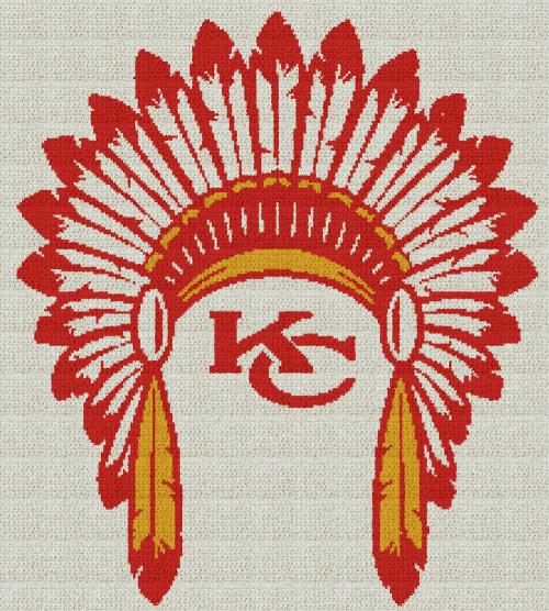 Kansas City Chiefs Headdress - Single Crochet Written Graphghan Pattern - 06 (225x250)