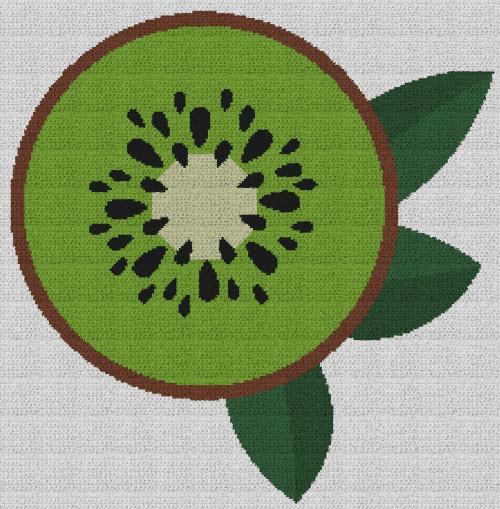 Sliced Kiwi - Single Crochet Written Graphghan Pattern - 02 (226x230)