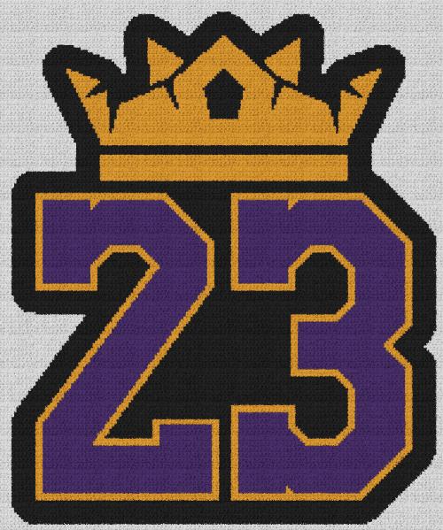 King (Lebron) James 23 - Single Crochet Written Graphghan Pattern - 03 (188x225)