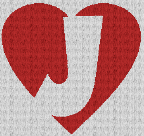 Letter J in a Heart - Single Crochet Written Graphghan Pattern - 01 (221x210)