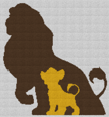 The Lion King - Simba/Mufasa - Single Crochet Written Graphghan Pattern - 02 (169x181)