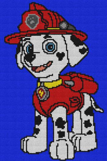 Marshall - Paw Patrol - Single Crochet Written Graphghan Pattern - 02 (100x150)