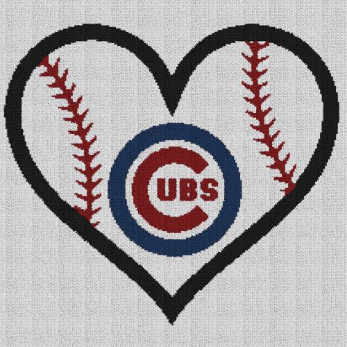Chicago Cubs Heart - Single Crochet Written Graphghan Pattern - 08 (220x220)