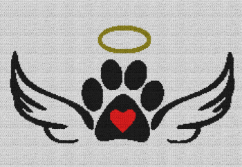 Dog Paw with Halo & Wings - Single Crochet Written Graphghan Pattern - 11 (230x155)