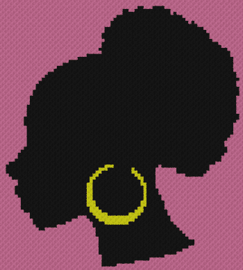 Black Woman - C2C Written Graphghan Pattern - 02 (82x91)